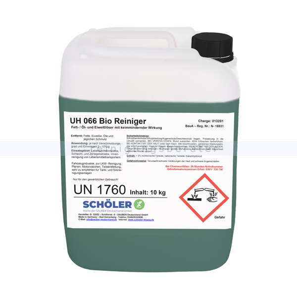 Schöler UH 066 Bio Reiniger 10 kg Fette- und Öllöser, Eiweißlöser UH066-10