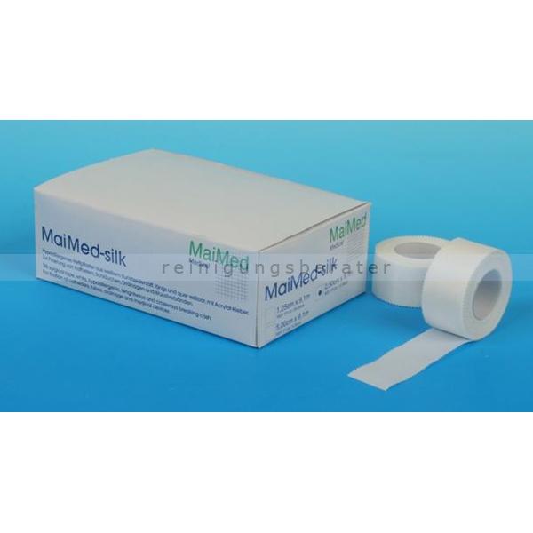 Fixierpflaster MaiMed silk Rollenpflaster 2,50 cm x 9,1 m weißes Heft-und Fixierpflaster auf der Rolle 12 Stück/Box 77120