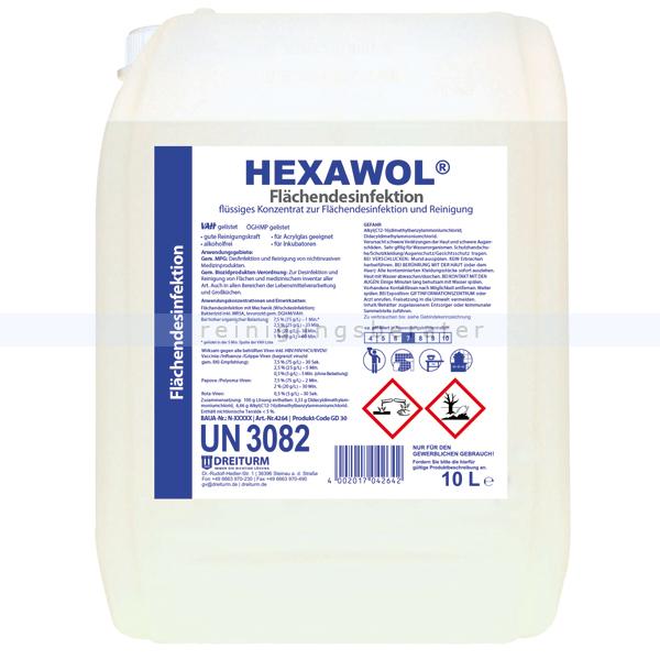 Dreiturm HEXAWOL 10 L Flächendesinfektion Flächendesinfektionsmittel für alkoholempfindliche Flächen 4264