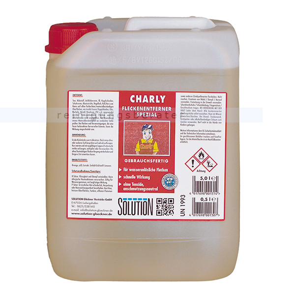 Solution Glöckner Charly Spezial 5 L Fleckenentferner Fleckenentferner für Teppiche & Textilien 0265