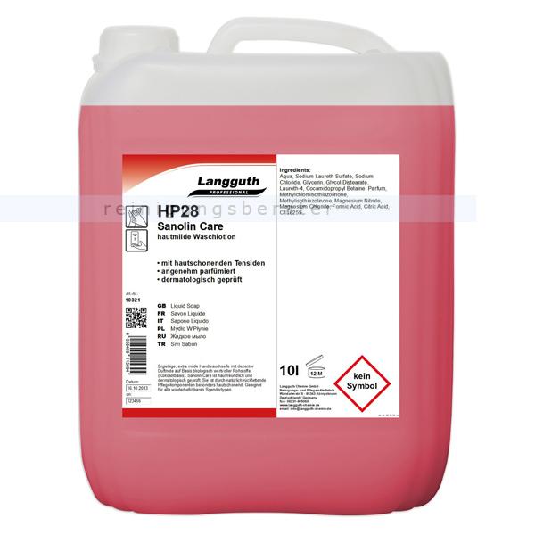 Flüssigseife Langguth HP28 Sanolin Care rose 10 L