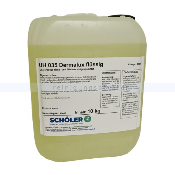 Schöler UH 035 Dermalux flüssig 10 kg Handspülmittel flüssiges, hautschonendes Handspülmittel und Seife in einem UH035-10