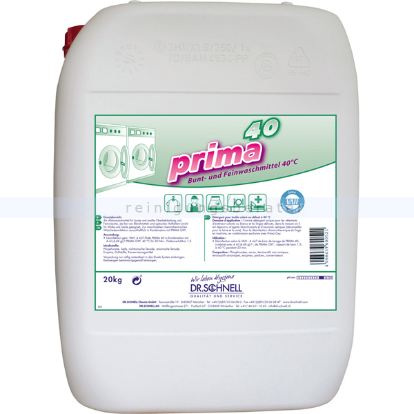 Dr. Schnell PRIMA 40 20 kg Feinwaschmittel Bunt- und Feinwaschmittel für empfindliche Textilien 60053