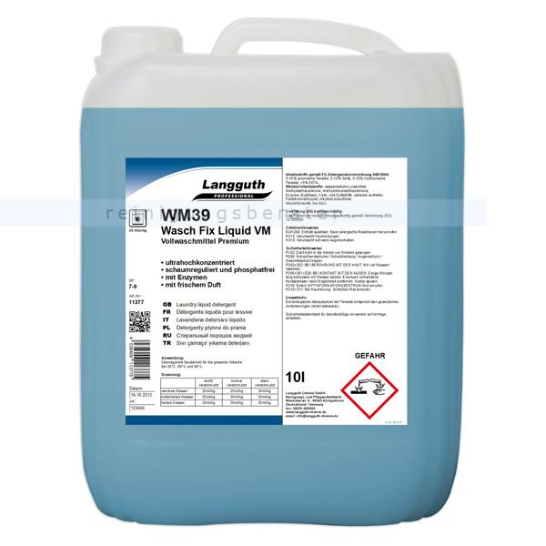 Langguth Wasch Fix Liquid VM WM 39 10 L flüssiges, phosphatfreies Vollwaschmittel 11377