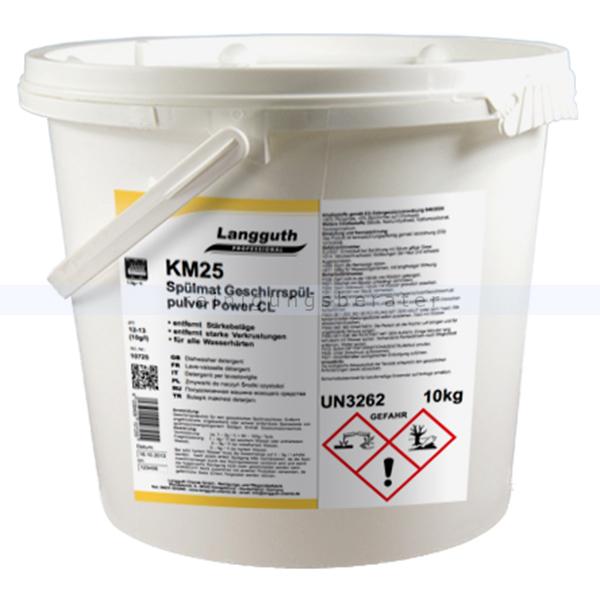 Langguth KM25 Spülmat Power CL 10 kg Geschirrspülpulver für gewerbliche Spülmaschinen, kraftvoll und hygienisch 10725