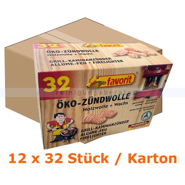 Grillanzünder Reinex ÖKO ANZÜNDWOLLE 12 x 32 Stück Karton Kohleanzünder für Grill, Ofen, Kamin und Lagerfeuer 213