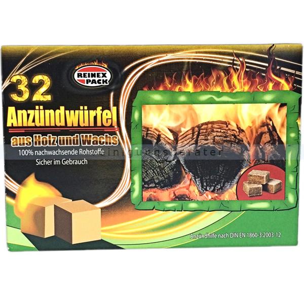 Grillanzünder Reinex ÖKO Anzündwürfel Holz & Wachs 32er Kohleanzünder für Grill, Ofen, Kamin und Lagerfeuer 210