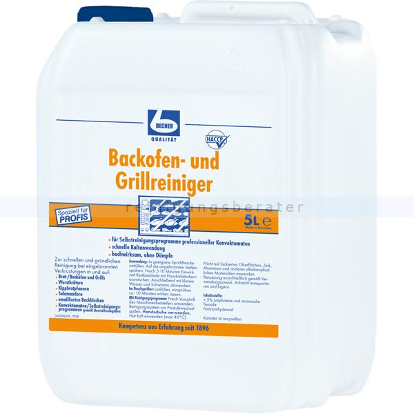 Dr. Becher 1761000 Backofenreiniger 5 L Grillreiniger löst gründlich und hoch wirksam eingebrannte Verschmutzungen