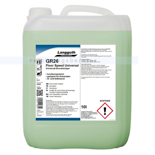 Langguth GR26 Floor Speed 10 L Grundreiniger leicht alkalischer, ammoniakfreier Grundreiniger 10660