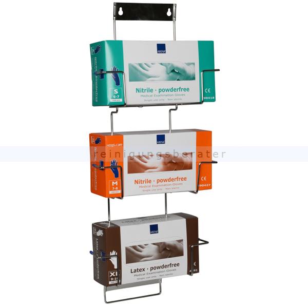 Handschuhspender Abena Flexi-Rack, Handschuhboxhalter 3 Fach geeignet zur Wandmontage, passend für dreI Handschuhboxen 490253