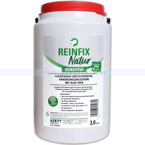 Azett Reinfix Natur sensitive Olivenkernmehl 3 L Handwaschpaste ohne Parfum, frei von Mikroplastik, gut biologisch abbaubar 1344-053-000