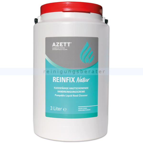 Azett Handwaschpaste Reinfix Natur WSM Bioreibekörper 3 L Weithalsbehälter, pH-hautneutral, Mikroplastik-frei 1343-053-000
