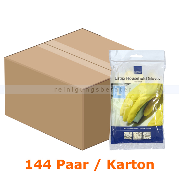 Haushaltshandschuhe Abena Gummi Latex gelb L Karton