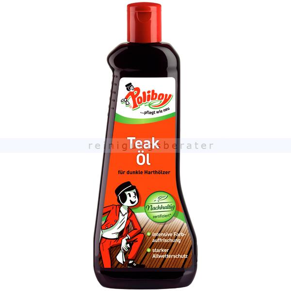 Poliboy Teak-Öl dunkel 500 ml Holzpflegeöl Intensive Farbauffrischung für dunkle Teak- und Harthölzer 4550001
