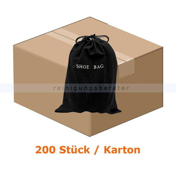 gut süß elegantes und robustes Paket Hotel Schuhbeutel neutral aus Baumwolle schwarz, 200 Stück für  Großverbraucher wie Hotels oder Pensionen