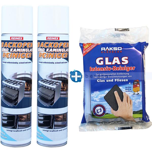 ReinigungsBerater Kaminscheibenreiniger Set RAKSO Glas Intensiv Pad 2x Kaminscheibenreiniger Reinex 400 ml und 1x RAKSO Glas Pad 606209