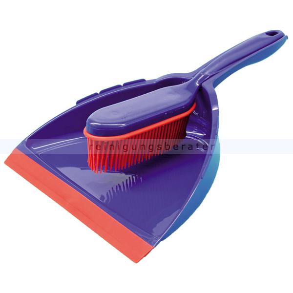 Kehrgarnitur Gummi Garnitur Friseurbesen Haarbesen blau/rot