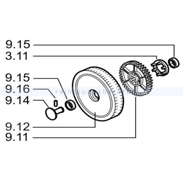 Haaga 452166 Set Rad 375 das Set ersetzt die Einzelbestandteile