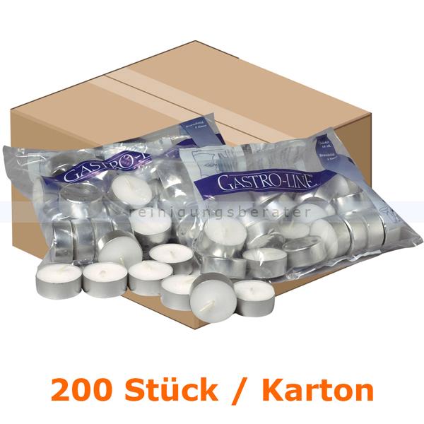 abenagastroline Kerzen Gastro Line Teelichter weiß 10 h 200 Stück Karton mit einer Brenndauer von bis zu 10 Stunden je Teelicht 3515
