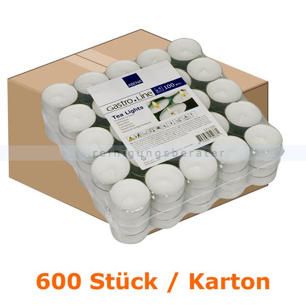 abenagastroline Kerzen Gastro Line Teelichter weiß 4 h 600 Stück Karton mit einer Brenndauer von bis zu 4 Stunden je Teelicht 121320