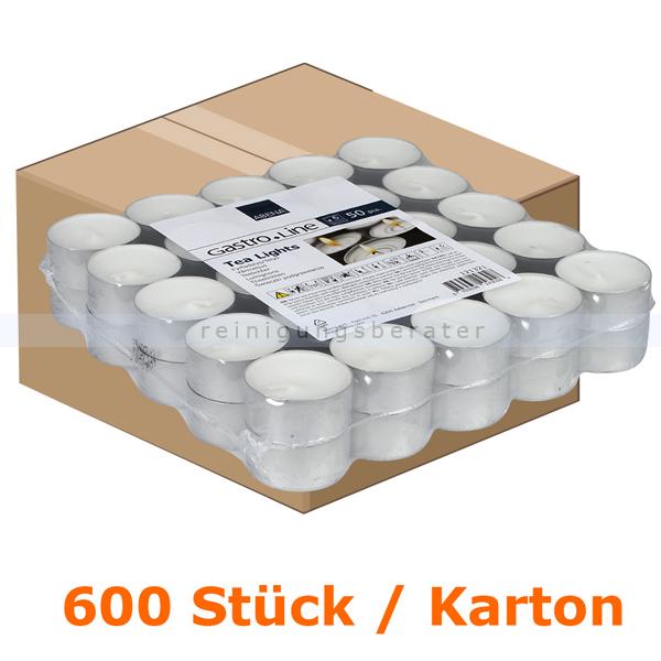 abenagastroline Kerzen Gastro Line Teelichter weiß 6 h 400 Stück Karton mit einer Brenndauer von bis zu 6 Stunden je Teelicht 121321