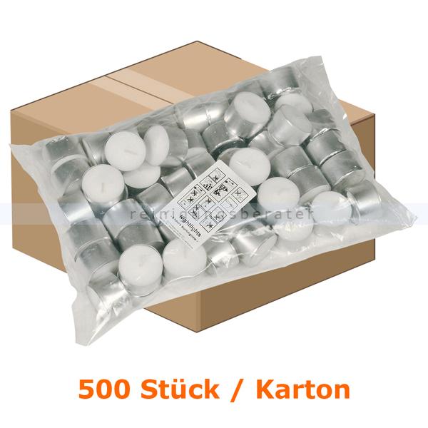 abenagastroline Kerzen Gastro Line Teelichter weiß 8 h 500 Stück Karton mit einer Brenndauer von bis zu 8 Stunden je Teelicht 121322