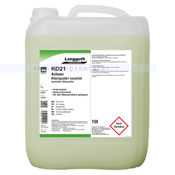 Klarspüler Langguth neutral 4clean KO21 10 L