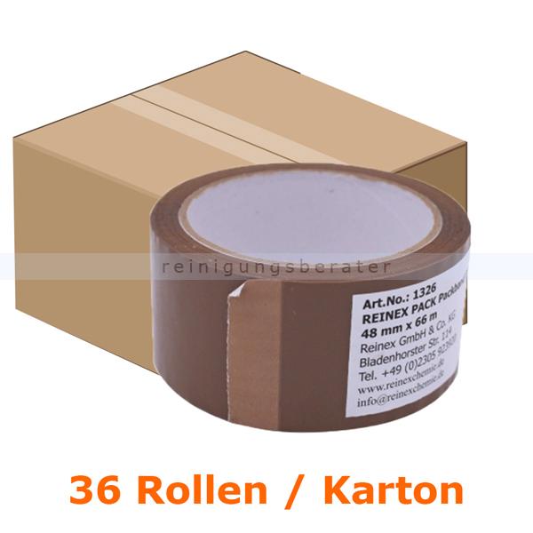 Klebeband Reinex Packband PP braun 48 mm x 66 m Karton 36 Rollen, vielseitig einsetzbares Paketklebeband 1326