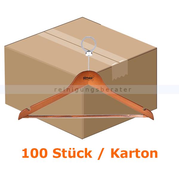 Simex Kleiderbügel Konfektionsbügel dunkles Holz 100 Stück 100 Stück/Karton, mit Sicherheitsring, mit Steg 08042
