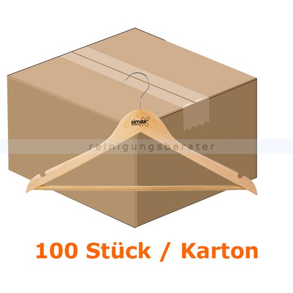 Kleiderbügel Simex Konfektionsbügel helles Holz 100 Stück 100 Stück/Karton, ohne Sicherheitsring, mit Steg 08025