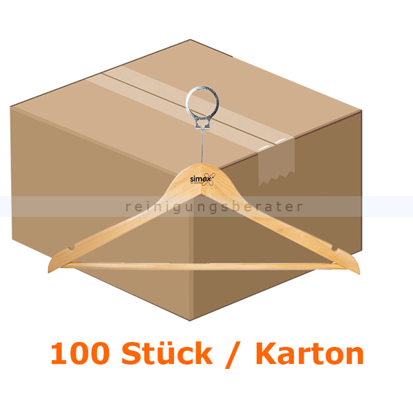 Simex Kleiderbügel Konfektionsbügel helles Holz 100 Stück 100 Stück/Karton, mit Sicherheitsring, mit Steg 08024