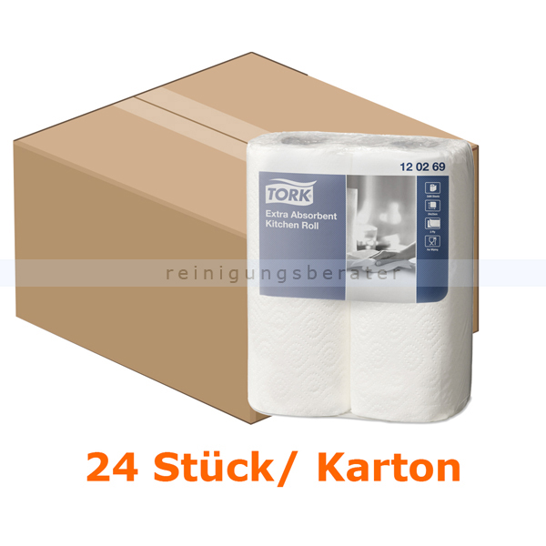 SCA Tork 120269 Küchenrollen extra saugfähig weiß 23x24 cm 24 Stück/Karton, extra saugfähig