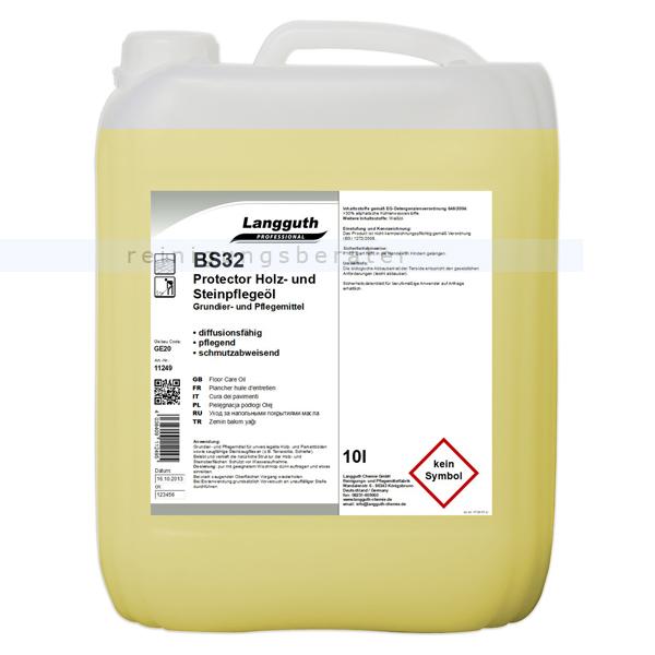 Langguth Protektor Holz- und Steinpflegeöl 10 L BS 32 Grundier- Pflegemittel für unversiegelte Holz- & Parkettböde 11249