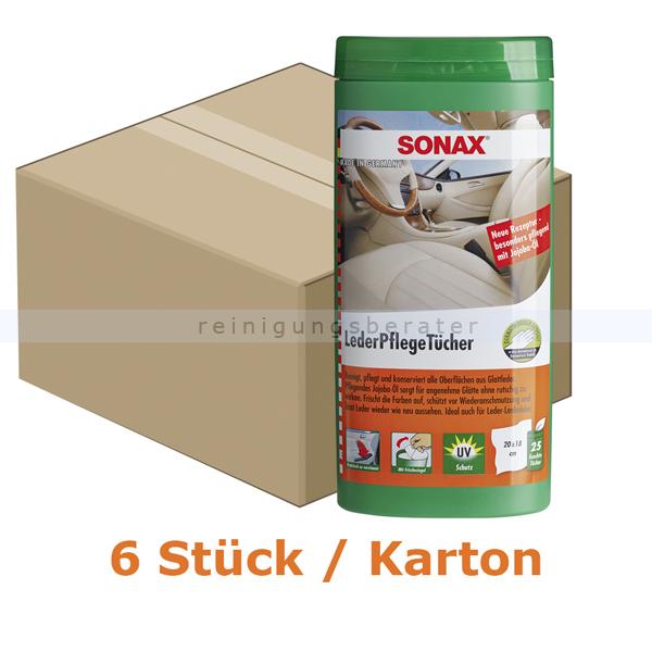 Lederpflege SONAX LederPflegeTücher 150 Stück in praktischer Spenderbox zur schnellen Reinigung 6 x 04123000