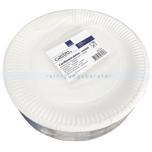 abenagastroline Lucky Einwegteller, Pappteller rund Ř 23 cm 100 Stück 23 cm Durchmesser, weiß 5635