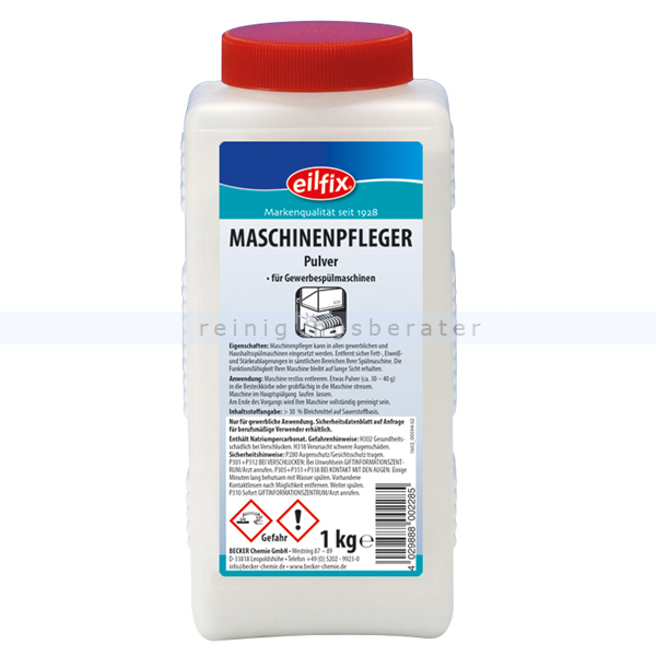 Becker Chemie Eilfix Maschinenpfleger Pulver 1 kg zum entkalken und entfetten der Spülmaschine 100084-001-000