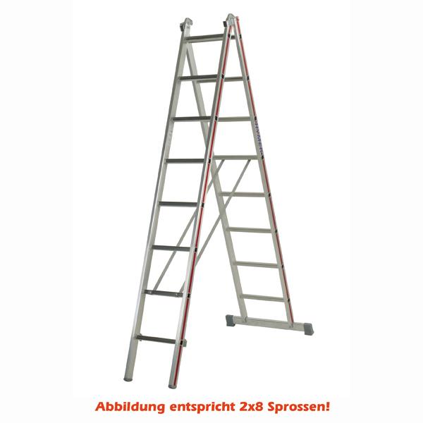 Mehrzweckleiter Hymer 2x12 Sprossen zweiteilig Walzprofil Mit Holm verpresste, abgerundete Leiterfüße 404524