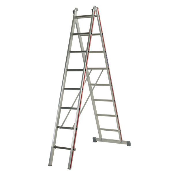 Mehrzweckleiter Hymer 2x8 Sprossen zweiteilig Walzprofil Mit Holm verpresste, abgerundete Leiterfüße 404516