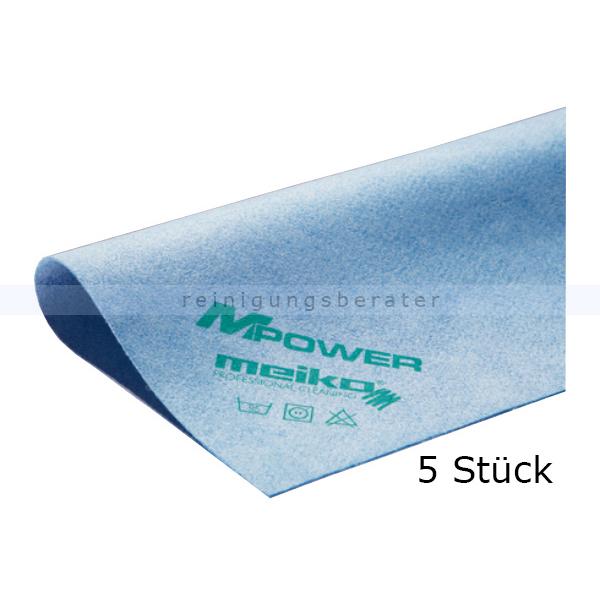 Microfasertuch Meiko MPower blau 40x40 cm - Büro 5er Pack, zur streifen- und fusselfreie Reinigung 966740