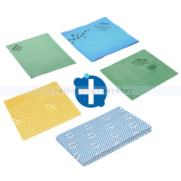 Vileda Microfasertuch SET, 5 verschiedene Wischtücher im Probierset 3 Microfasertücher, 1 Wischtuch, 1 Bodentuch 143588