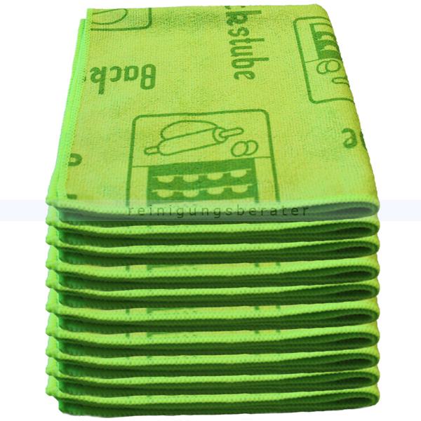 Mikrofasertuch Mopptex Piktogramm Küche Grün 40 x 40 cm 10er Pack, mit Piktogrammen und Text für Anwendungsbereiche 300681