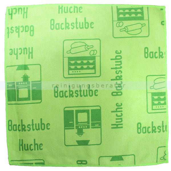 Mikrofasertuch Mopptex Piktogramm Küche Grün 40 x 40 cm 1 Stück, mit Piktogrammen und Text für Anwendungsbereiche 300681