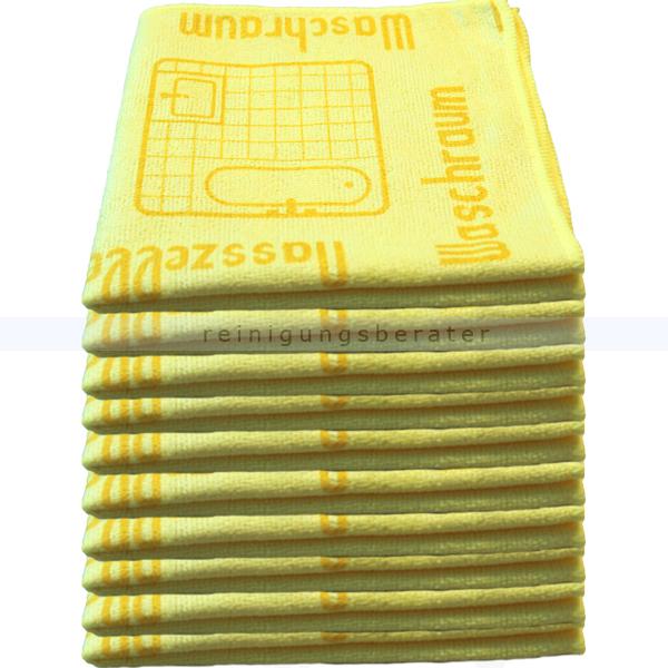 Mikrofasertuch Mopptex Piktogramm Waschraum Gelb 40 x 40 cm 10er Pack, mit Piktogrammen und Text für Anwendungsbereiche 300682