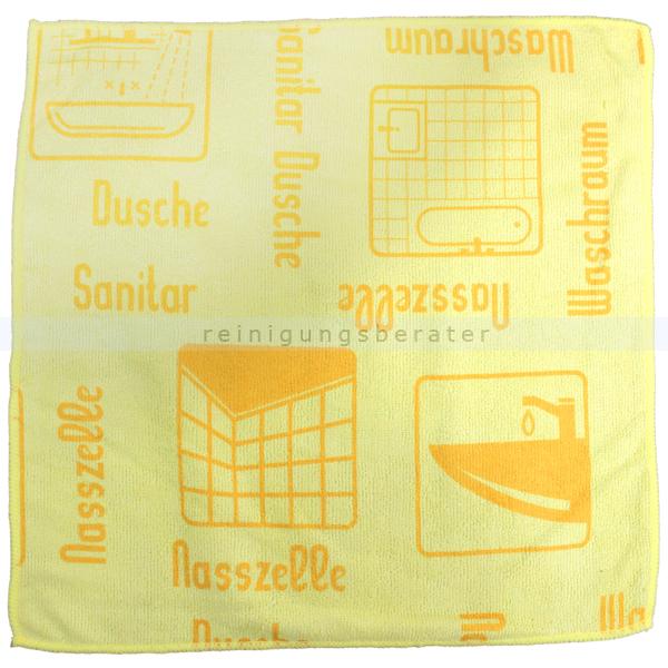 Mikrofasertuch Mopptex Piktogramm Waschraum Gelb 40 x 40 cm 1 Stück, mit Piktogrammen und Text für Anwendungsbereiche 300682