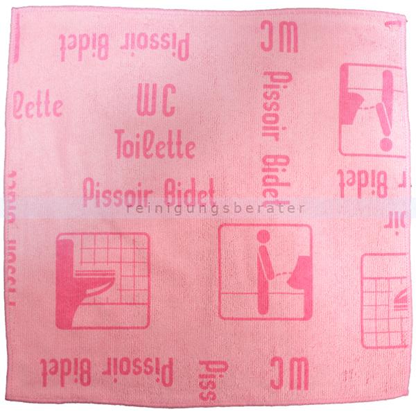 Mikrofasertuch Mopptex Piktogramm WC-Toilette Rot 40 x 40 cm 1 Stück, mit Piktogrammen und Text für Anwendungsbereiche 300683
