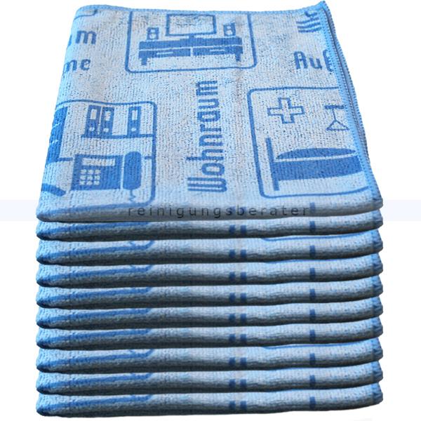Mikrofasertuch Mopptex Piktogramm Wohnraum Blau 40 x 40 cm 10er Pack, mit Piktogrammen und Text für Anwendungsbereiche 300684