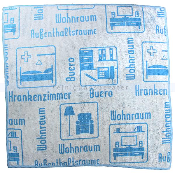 Mikrofasertuch Mopptex Piktogramm Wohnraum Blau 40 x 40 cm 1 Stück, mit Piktogrammen und Text für Anwendungsbereiche 300684