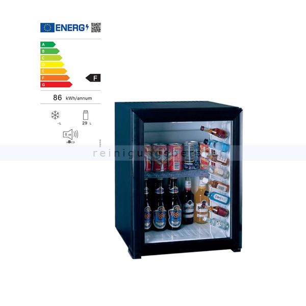 Minibar Simex Black Line schwarz 30 L mit Glastür Minikühlschrank, geringer Geräuschpegel und Stromverbrauch 05140