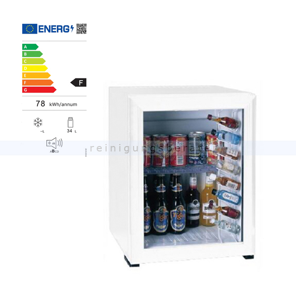 Minibar Simex Hotel Line weiß 40 L mit Glastür Minikühlschrank, geringer Geräuschpegel und Stromverbrauch 05145