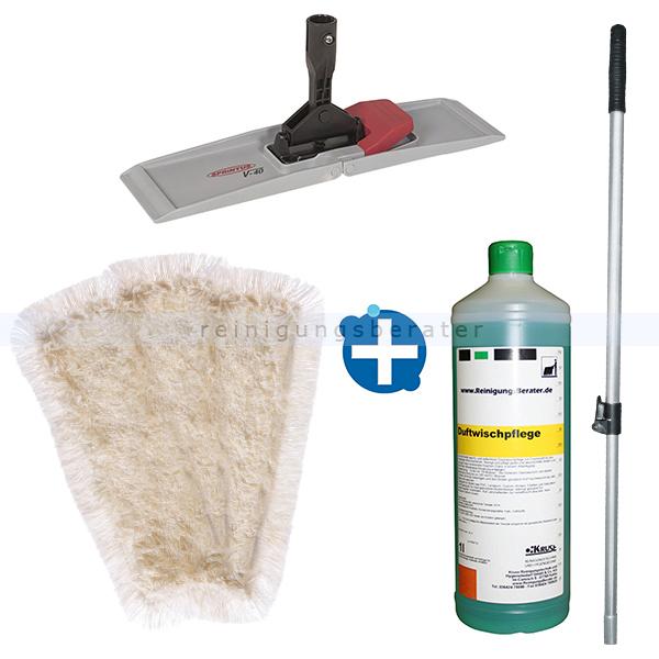 Mop-Set 3 - Wischset mit 40 cm Mop, Klapphalter und Stiel